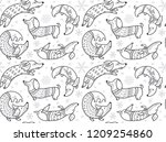 christmas seamless pattern with ... | Shutterstock .eps vector #1209254860