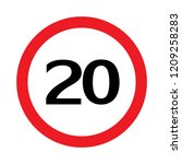 20 icon speed limit road sign...   Shutterstock .eps vector #1209258283