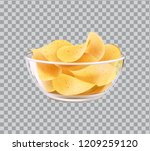 chips in glass bowl as snack to ... | Shutterstock .eps vector #1209259120