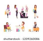 shopping woman choosing clothes ... | Shutterstock .eps vector #1209260086