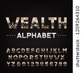 wealth alphabet font. golden... | Shutterstock .eps vector #1209264310