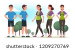 sporty looking persons man and... | Shutterstock .eps vector #1209270769