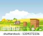 countryside  sunflowers ... | Shutterstock .eps vector #1209272236