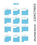 simple calendar with blue color ... | Shutterstock .eps vector #1209279853