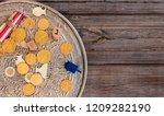 hanukkah dreidels with menorah... | Shutterstock . vector #1209282190