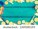 hanukkah dreidels with menorah... | Shutterstock . vector #1209282193