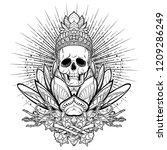 meditating skeleton. human... | Shutterstock .eps vector #1209286249
