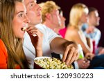 young people watching movie at... | Shutterstock . vector #120930223