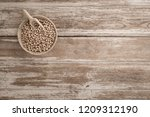 soy milk and soy bean on wooden ... | Shutterstock . vector #1209312190