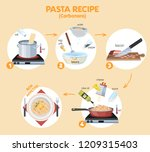cooking tasty pasta carbonara... | Shutterstock .eps vector #1209315403