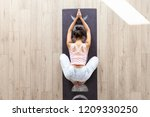 slender asian woman doing yoga... | Shutterstock . vector #1209330250