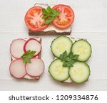 top view of healthy sandwiches... | Shutterstock . vector #1209334876