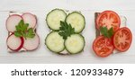 top view of healthy sandwiches... | Shutterstock . vector #1209334879