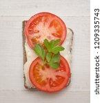 top view of healthy sandwich on ... | Shutterstock . vector #1209335743