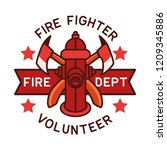 firefighter logo isolated on... | Shutterstock .eps vector #1209345886