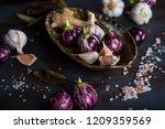mini eggplants  ginger  garlic... | Shutterstock . vector #1209359569