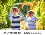 adorable little two baby boys... | Shutterstock . vector #1209361180