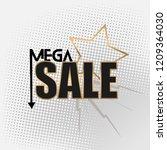 golden theme mega sales banner... | Shutterstock .eps vector #1209364030