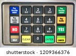 close up of payment pin pad at... | Shutterstock . vector #1209366376