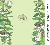 background with nettle  plant ... | Shutterstock .eps vector #1209371956