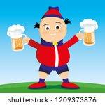 man with beer in his hands on... | Shutterstock .eps vector #1209373876