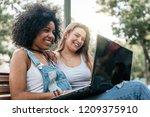 beautiful women using a laptop... | Shutterstock . vector #1209375910