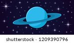 saturn planet and stars on blue ... | Shutterstock .eps vector #1209390796