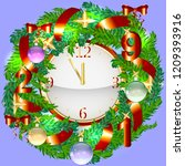 realistic christmas wreath and... | Shutterstock .eps vector #1209393916