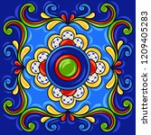mexican talavera ceramic tile... | Shutterstock .eps vector #1209405283