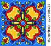 mexican talavera ceramic tile... | Shutterstock .eps vector #1209405286