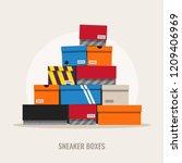 Sneaker Boxes  Flat Design...