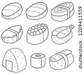 vector set of sushi  rice with... | Shutterstock .eps vector #1209411559