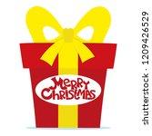 red gift box for christmas on... | Shutterstock .eps vector #1209426529