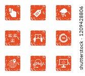 monitoring icons set. grunge...