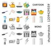 kitchen equipment cartoon icons ...   Shutterstock .eps vector #1209429559