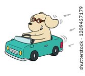 vector of dog driving car | Shutterstock .eps vector #1209437179