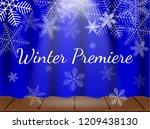 theatre stage with snowflakes.... | Shutterstock .eps vector #1209438130