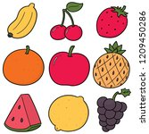 vector set of fruits | Shutterstock .eps vector #1209450286