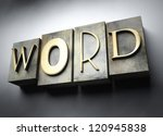 Word concept, 3d vintage letterpress text - stock photo
