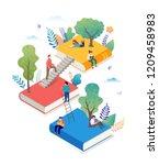 book festival concept of a... | Shutterstock .eps vector #1209458983