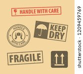 set of fragile sticker handle... | Shutterstock .eps vector #1209459769