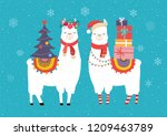 llama winter illustration  cute ... | Shutterstock .eps vector #1209463789