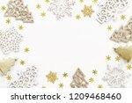 christmas frame of decorative... | Shutterstock . vector #1209468460