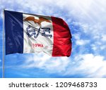 flag state of iowa on a flagpole   Shutterstock . vector #1209468733