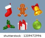 merry christmas icons realistic.... | Shutterstock .eps vector #1209472996