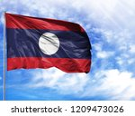 national flag of laos on a...   Shutterstock . vector #1209473026