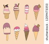 vector set of cute doodle ice...   Shutterstock .eps vector #1209473353
