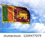 national flag of sri lanka on a ...   Shutterstock . vector #1209477079