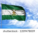 national flag of andalusia on a ...   Shutterstock . vector #1209478039