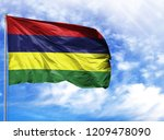 national flag of mauritius on a ...   Shutterstock . vector #1209478090